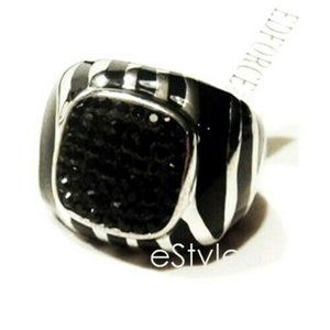 Edforce Men Ring Stainless Steel Black SZ 7